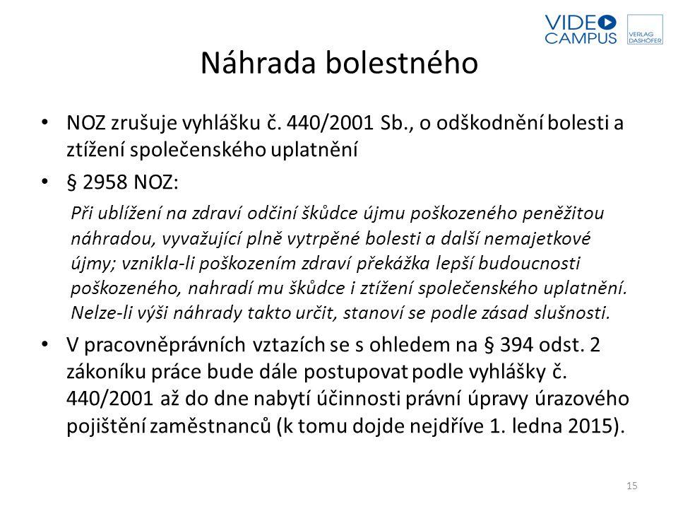Náhrada bolestného NOZ zrušuje vyhlášku č. 440/2001 Sb., o odškodnění bolesti a ztížení společenského uplatnění.