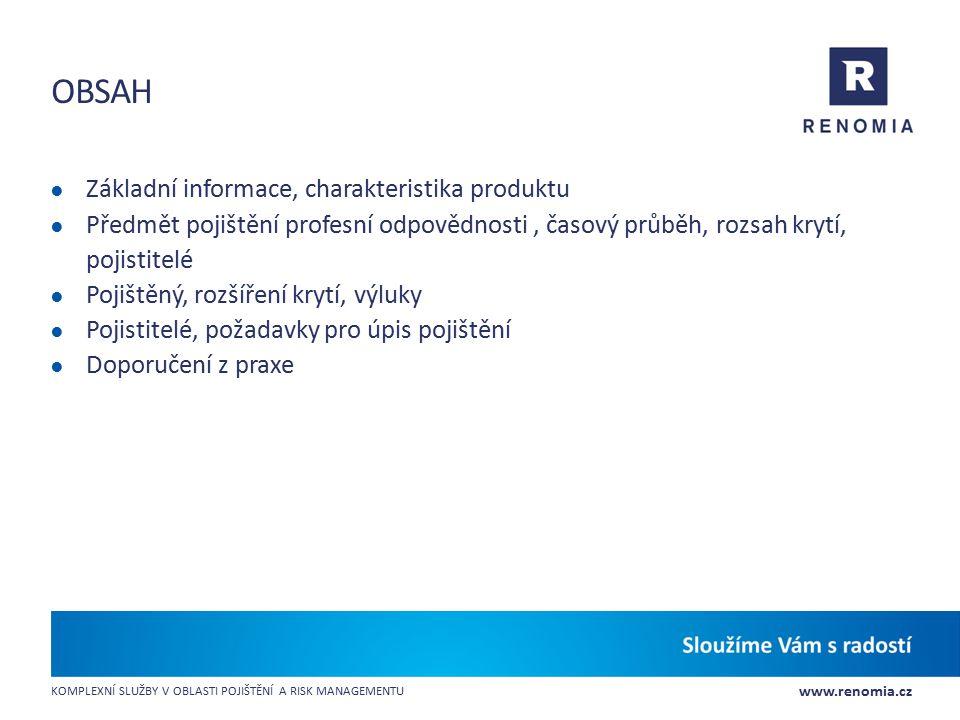 Obsah Základní informace, charakteristika produktu