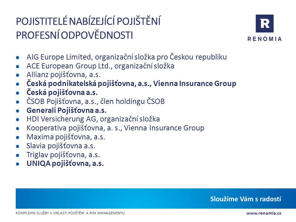 Pojistitelé nabízející pojištění profesní odpovědnosti