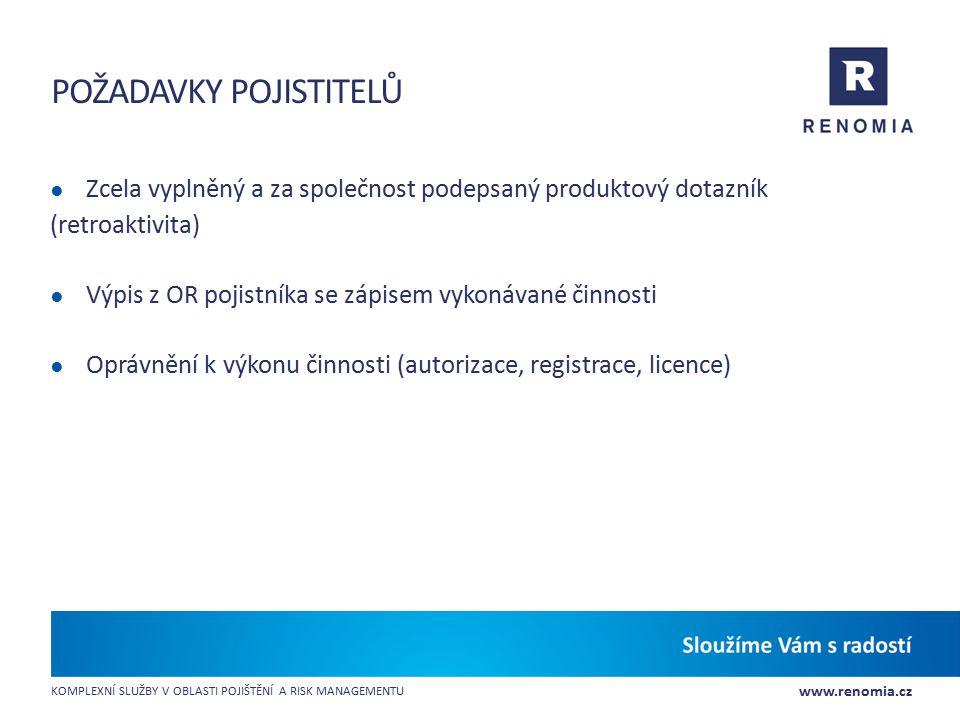 Požadavky pojistitelů