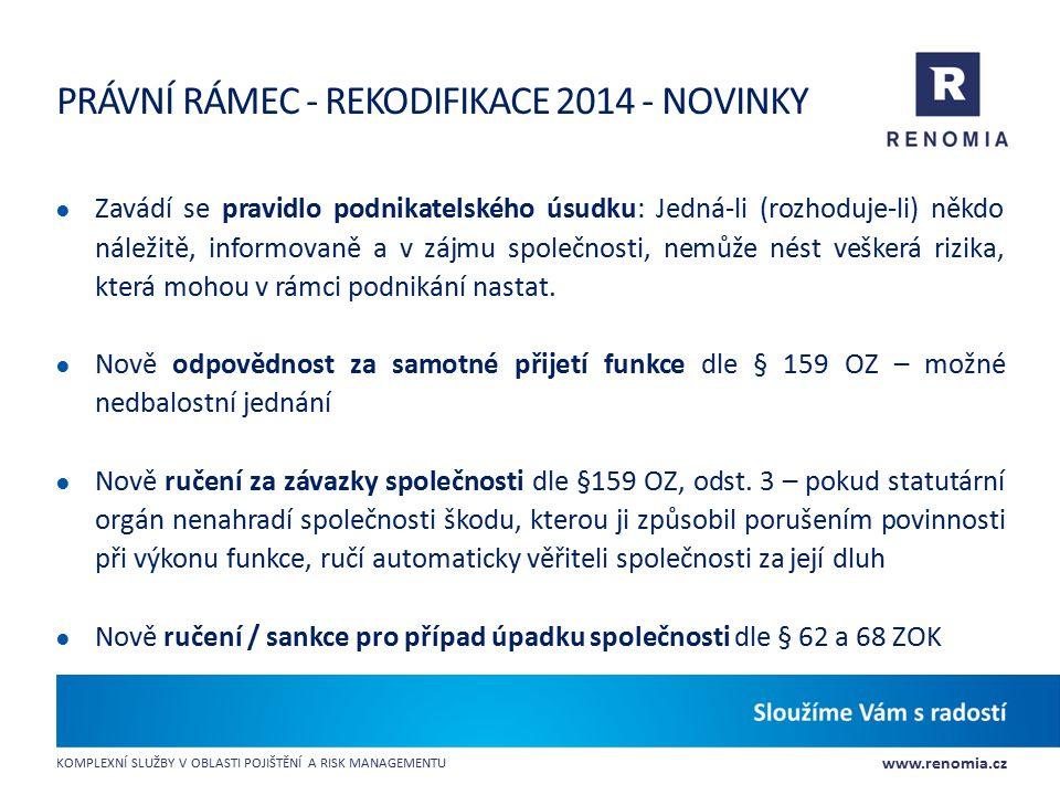 PRÁVNÍ RÁMEC - Rekodifikace 2014 - Novinky