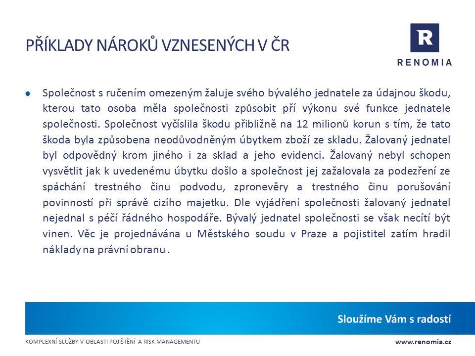 Příklady nároků vznesených v ČR