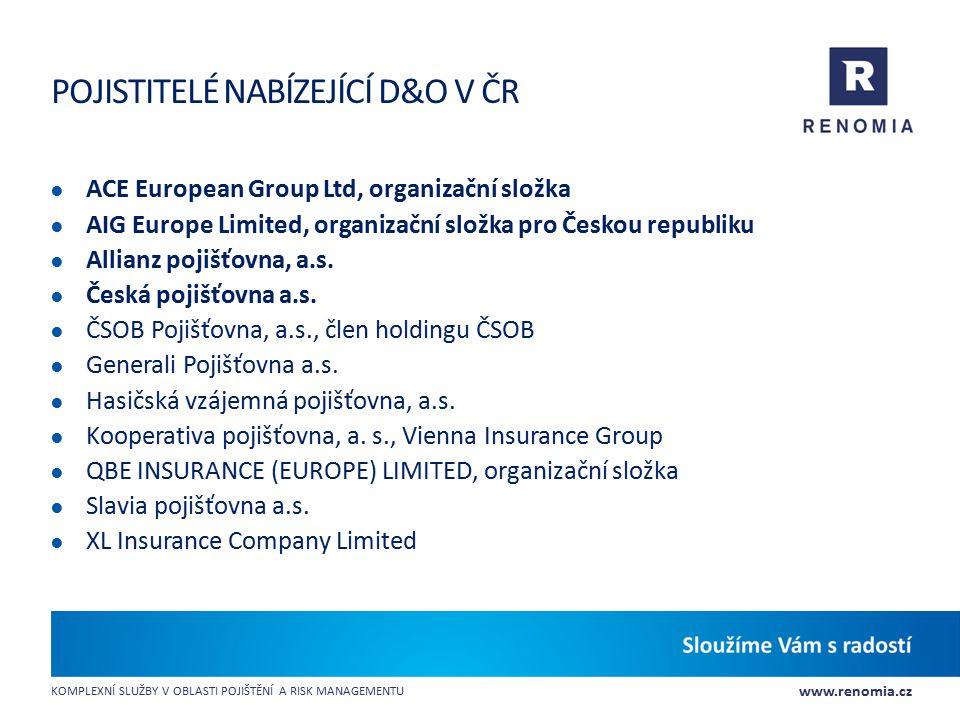 Pojistitelé nabízející D&O v ČR