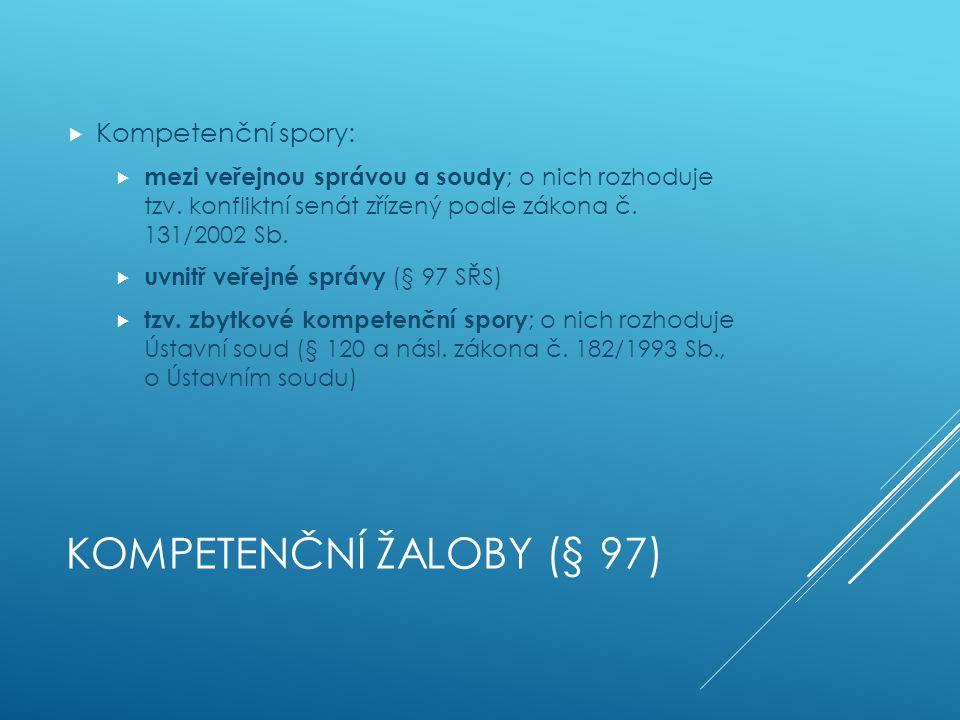 Kompetenční žaloby (§ 97)