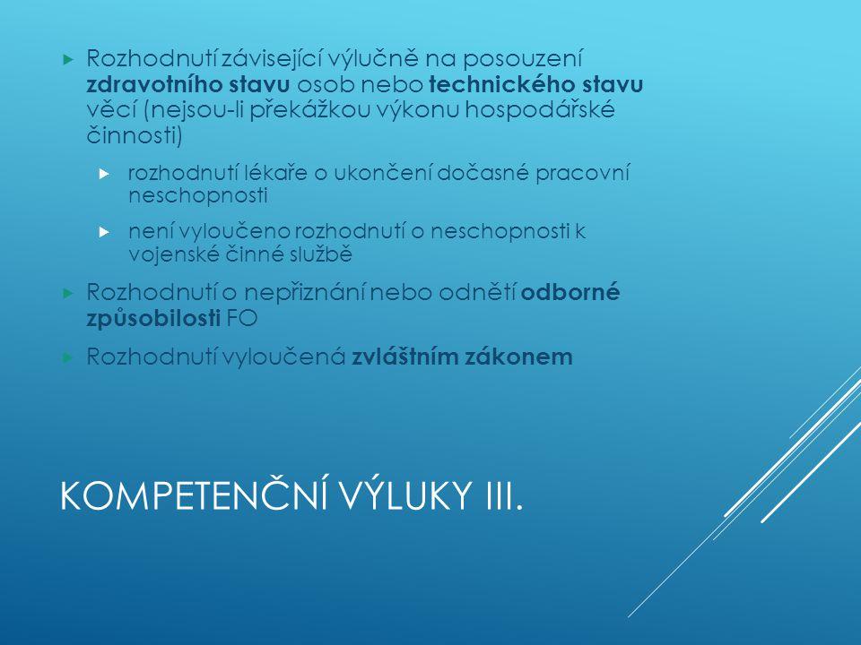 Kompetenční výluky III.