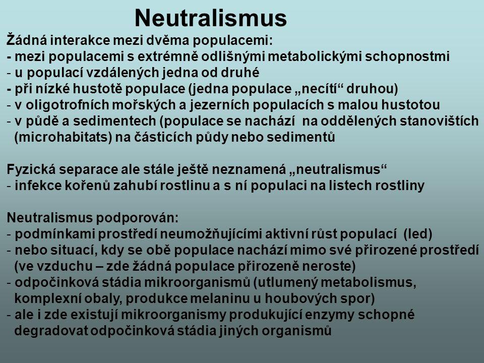 Neutralismus Žádná interakce mezi dvěma populacemi: