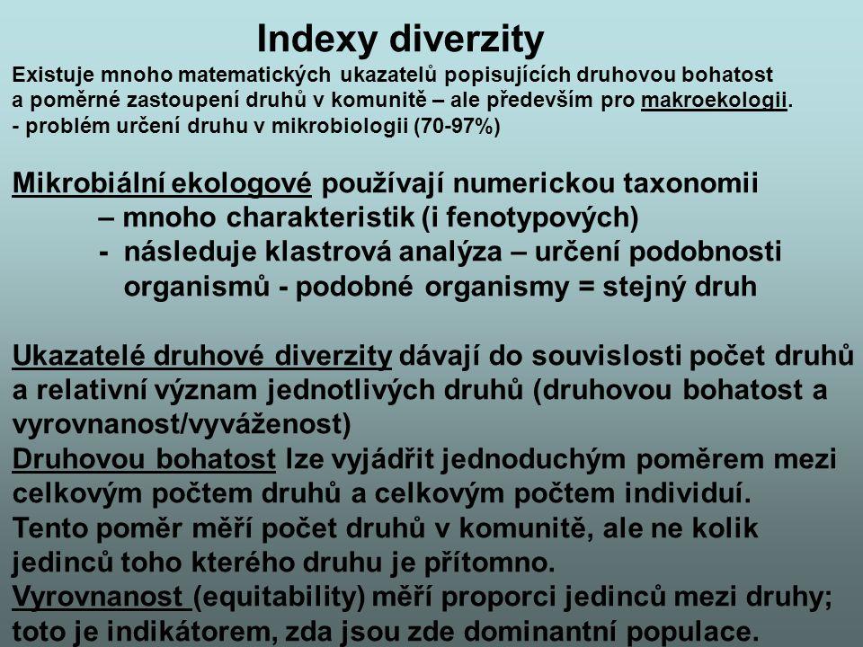 Indexy diverzity Mikrobiální ekologové používají numerickou taxonomii