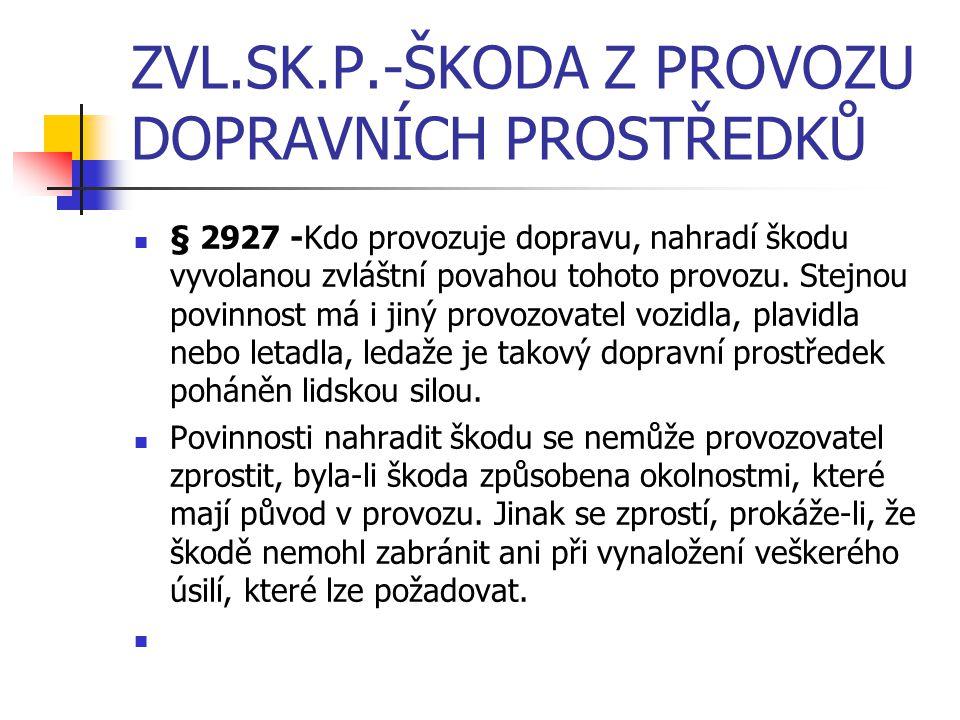 ZVL.SK.P.-ŠKODA Z PROVOZU DOPRAVNÍCH PROSTŘEDKŮ