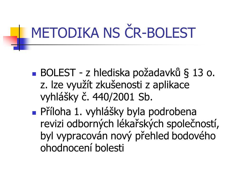 METODIKA NS ČR-BOLEST BOLEST - z hlediska požadavků § 13 o. z. lze využít zkušenosti z aplikace vyhlášky č. 440/2001 Sb.