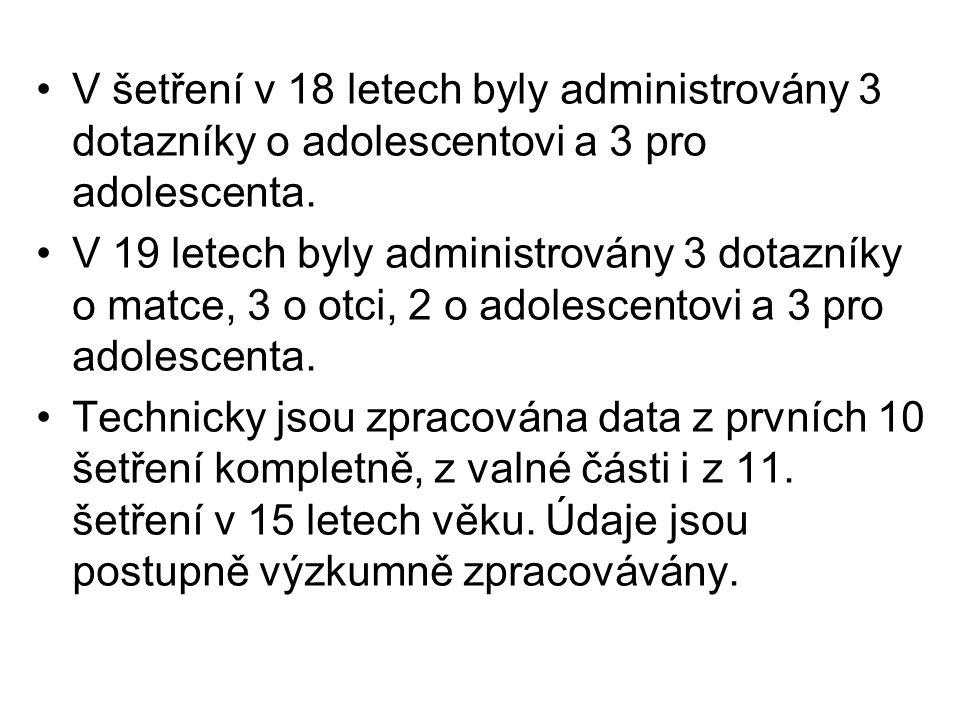 V šetření v 18 letech byly administrovány 3 dotazníky o adolescentovi a 3 pro adolescenta.