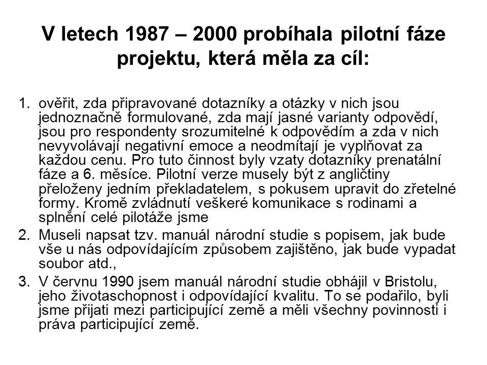 V letech 1987 – 2000 probíhala pilotní fáze projektu, která měla za cíl: