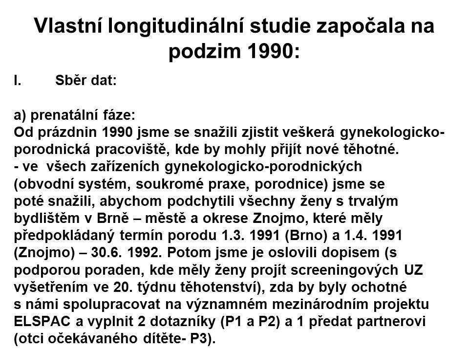 Vlastní longitudinální studie započala na podzim 1990: