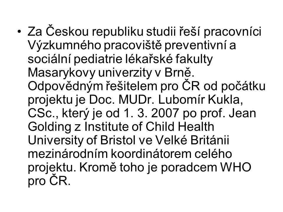 Za Českou republiku studii řeší pracovníci Výzkumného pracoviště preventivní a sociální pediatrie lékařské fakulty Masarykovy univerzity v Brně.