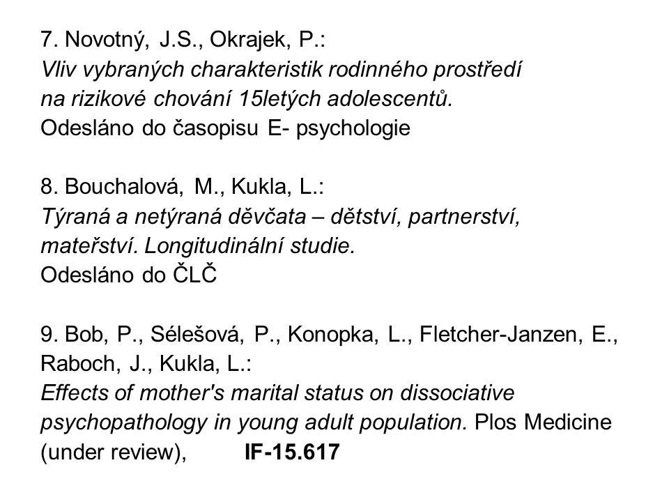 7. Novotný, J.S., Okrajek, P.: Vliv vybraných charakteristik rodinného prostředí. na rizikové chování 15letých adolescentů.