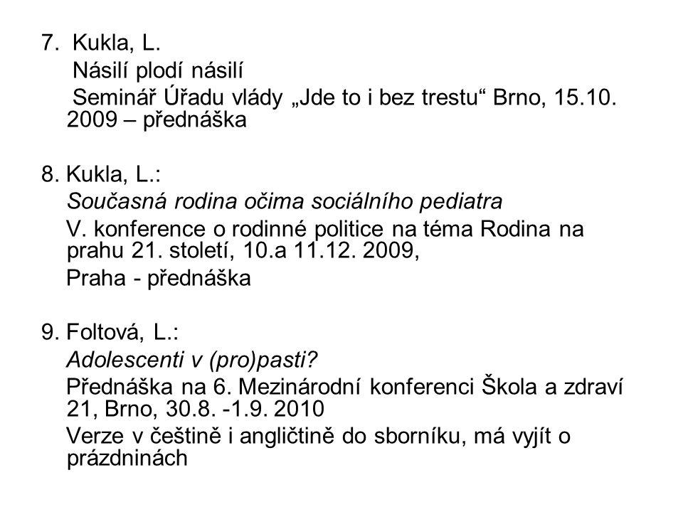 """7. Kukla, L. Násilí plodí násilí. Seminář Úřadu vlády """"Jde to i bez trestu Brno, 15.10. 2009 – přednáška."""