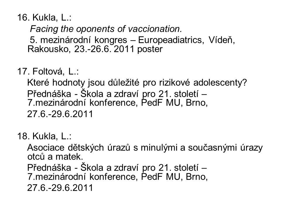 16. Kukla, L.: Facing the oponents of vaccionation. 5. mezinárodní kongres – Europeadiatrics, Vídeň, Rakousko, 23.-26.6. 2011 poster.