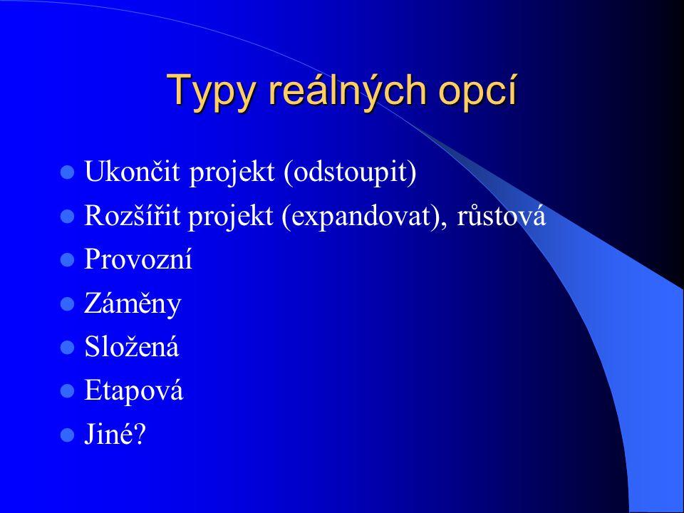 Typy reálných opcí Ukončit projekt (odstoupit)