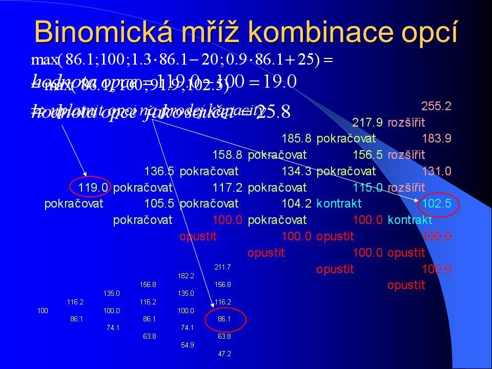 Binomická mříž kombinace opcí