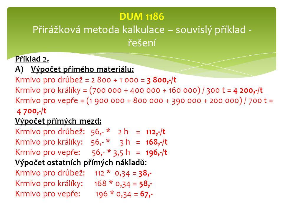 DUM 1186 Přirážková metoda kalkulace – souvislý příklad - řešení