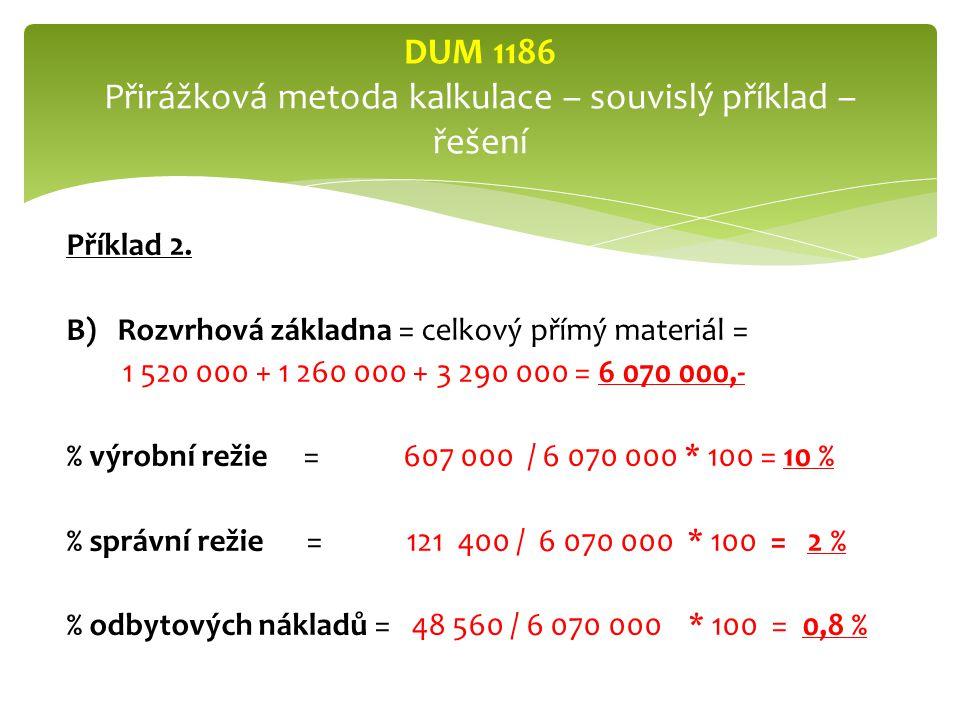 DUM 1186 Přirážková metoda kalkulace – souvislý příklad – řešení