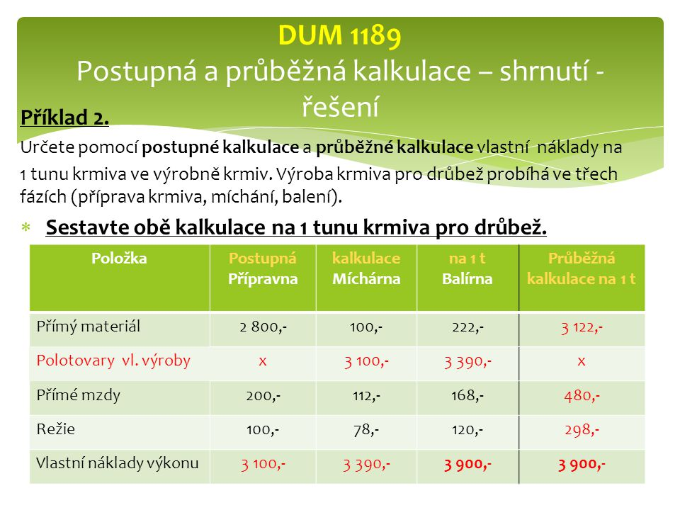 DUM 1189 Postupná a průběžná kalkulace – shrnutí - řešení
