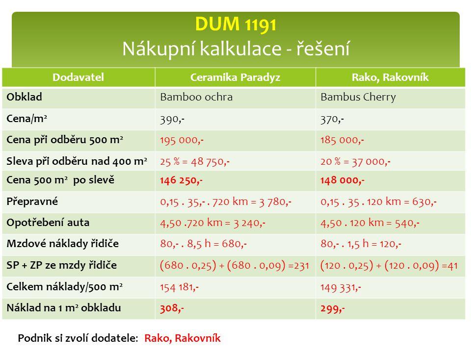 DUM 1191 Nákupní kalkulace - řešení