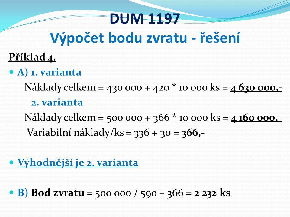 DUM 1197 Výpočet bodu zvratu - řešení