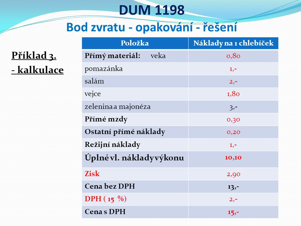 DUM 1198 Bod zvratu - opakování - řešení