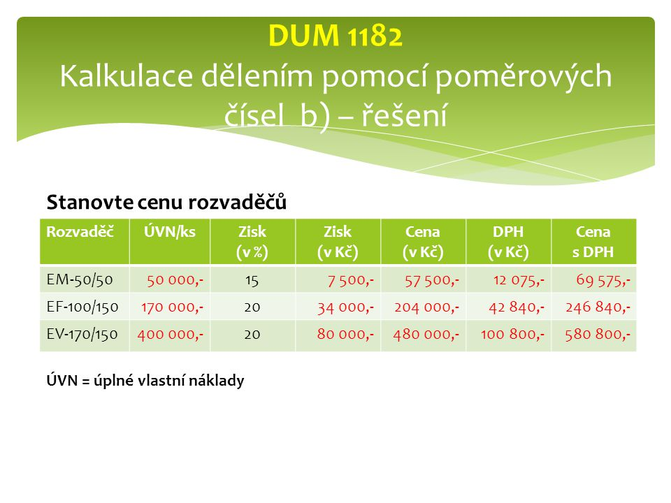 DUM 1182 Kalkulace dělením pomocí poměrových čísel b) – řešení