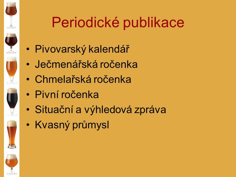 Periodické publikace Pivovarský kalendář Ječmenářská ročenka
