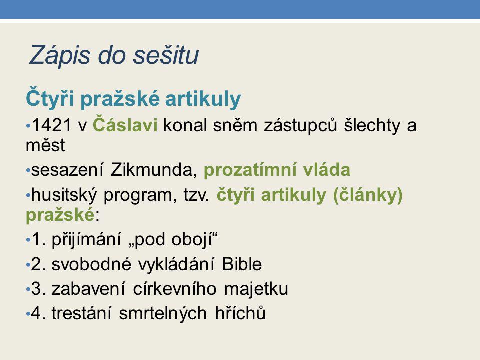 Zápis do sešitu Čtyři pražské artikuly