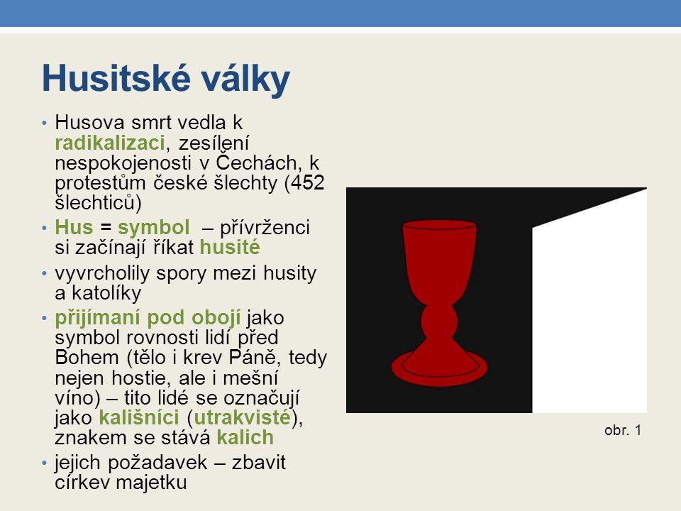 Husitské války Husova smrt vedla k radikalizaci, zesílení nespokojenosti v Čechách, k protestům české šlechty (452 šlechticů)