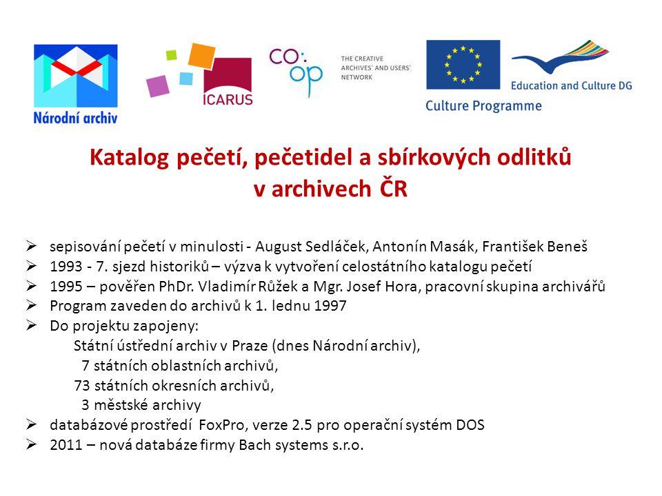 Katalog pečetí, pečetidel a sbírkových odlitků v archivech ČR