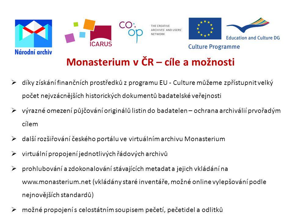 Monasterium v ČR – cíle a možnosti