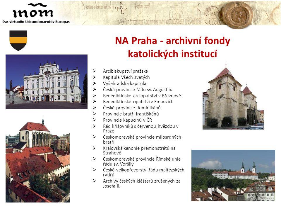 NA Praha - archivní fondy katolických institucí
