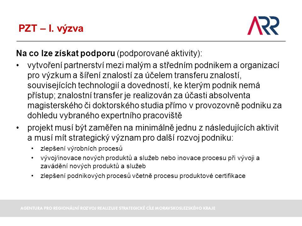 PZT – I. výzva Na co lze získat podporu (podporované aktivity):