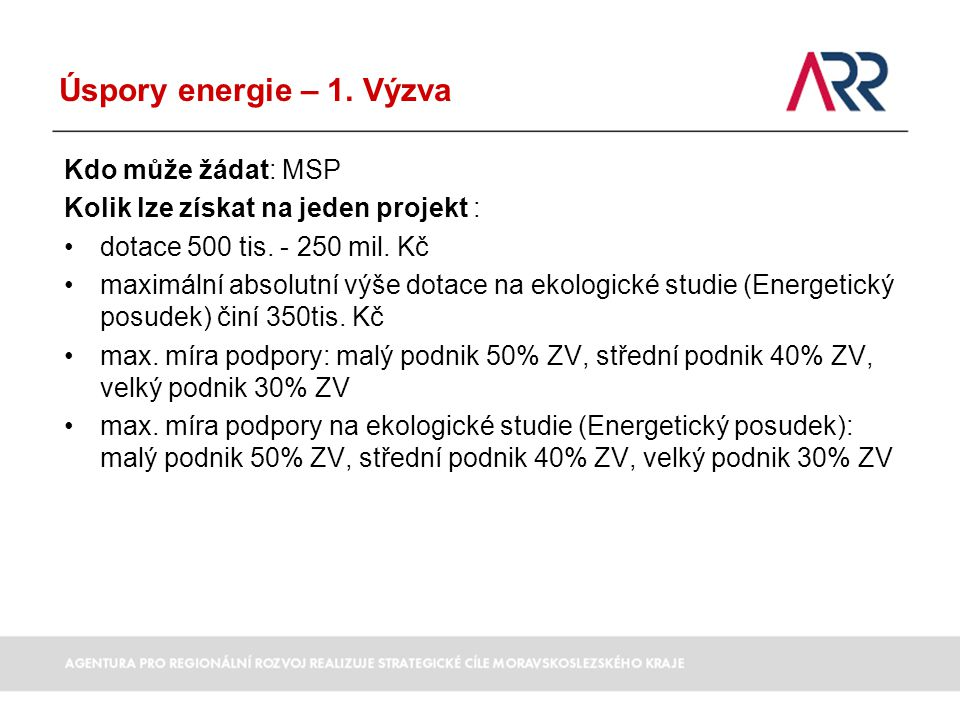 Úspory energie – 1. Výzva Kdo může žádat: MSP