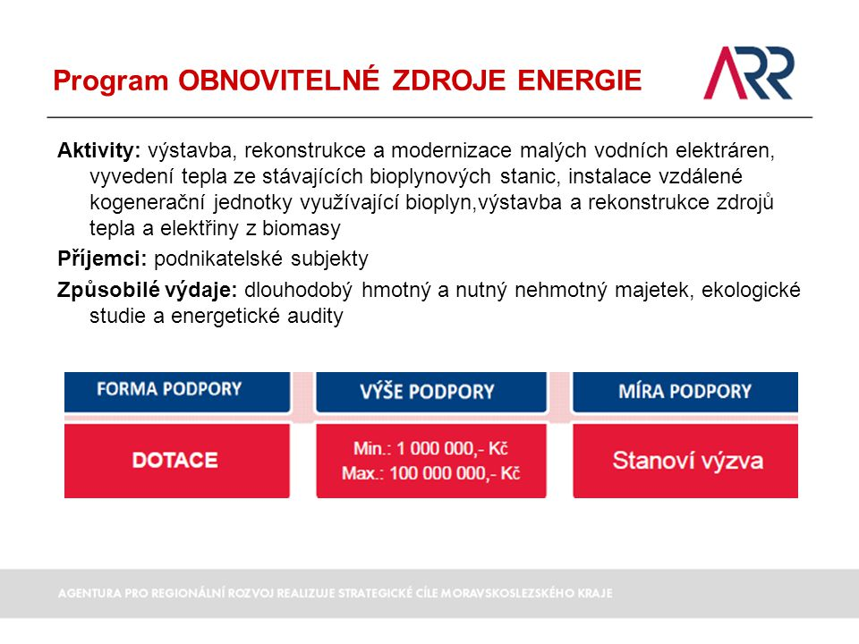Program OBNOVITELNÉ ZDROJE ENERGIE