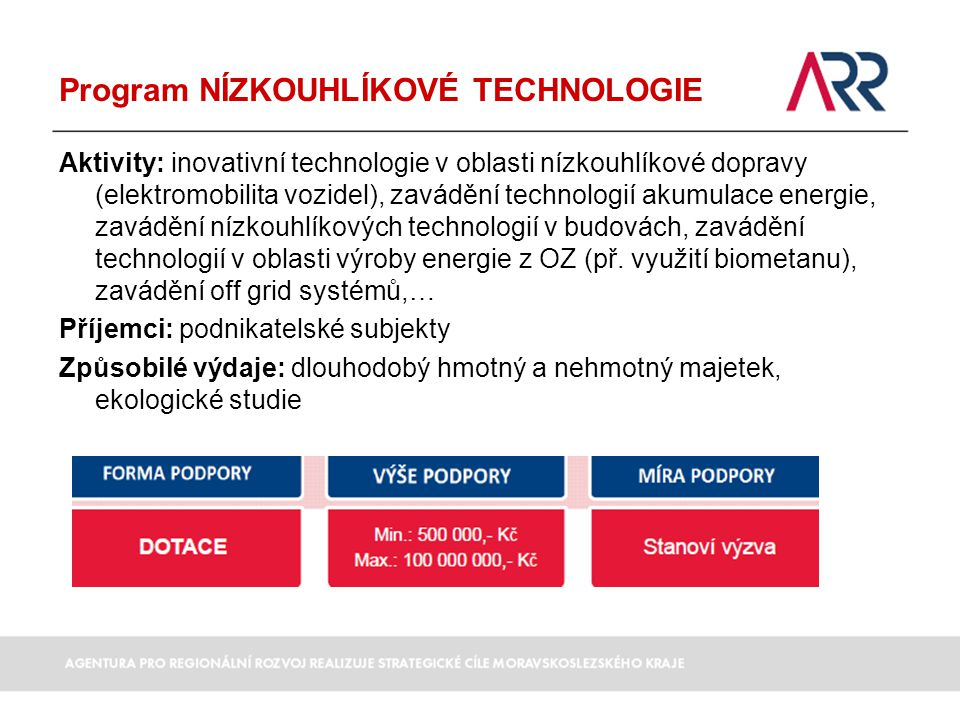 Program NÍZKOUHLÍKOVÉ TECHNOLOGIE