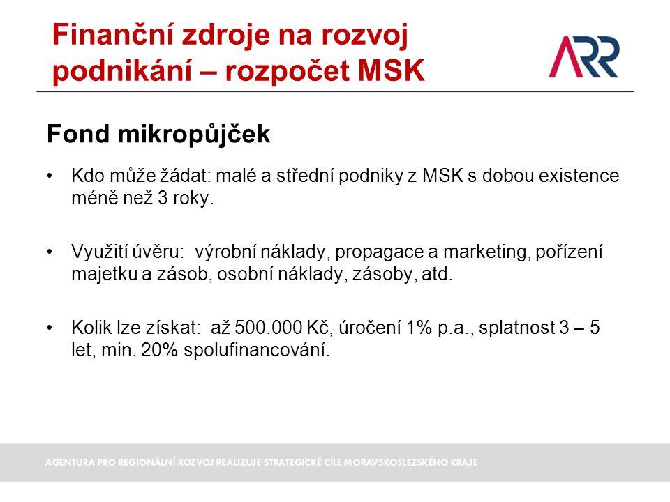 Finanční zdroje na rozvoj podnikání – rozpočet MSK
