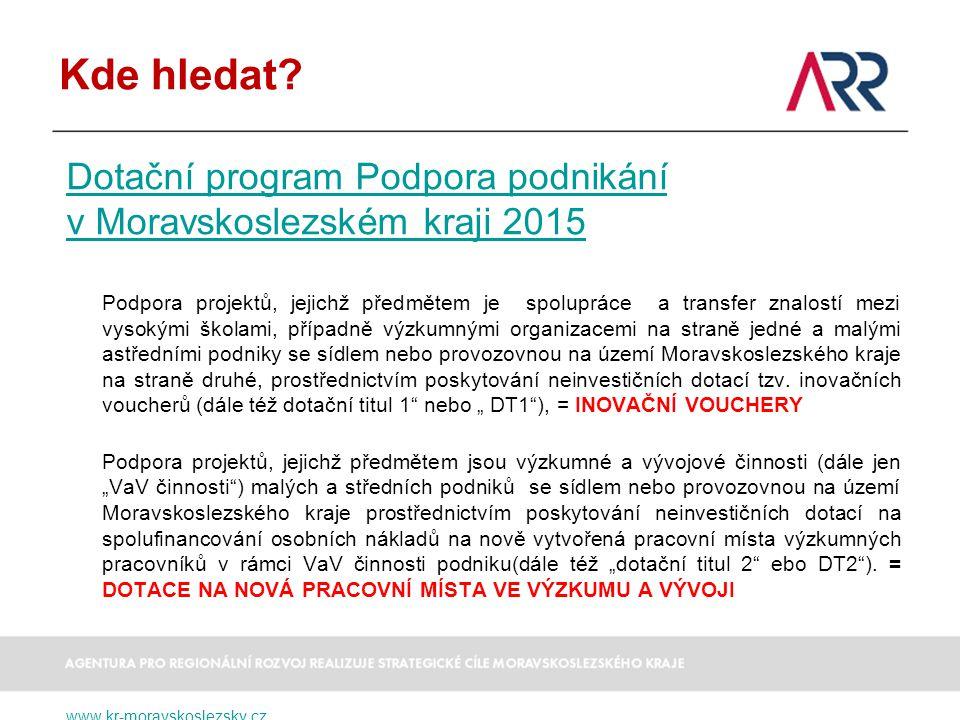 Kde hledat Dotační program Podpora podnikání v Moravskoslezském kraji 2015.