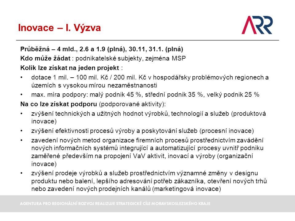 Inovace – I. Výzva Průběžná – 4 mld., 2.6 a 1.9 (plná), 30.11, 31.1. (plná) Kdo může žádat : podnikatelské subjekty, zejména MSP.