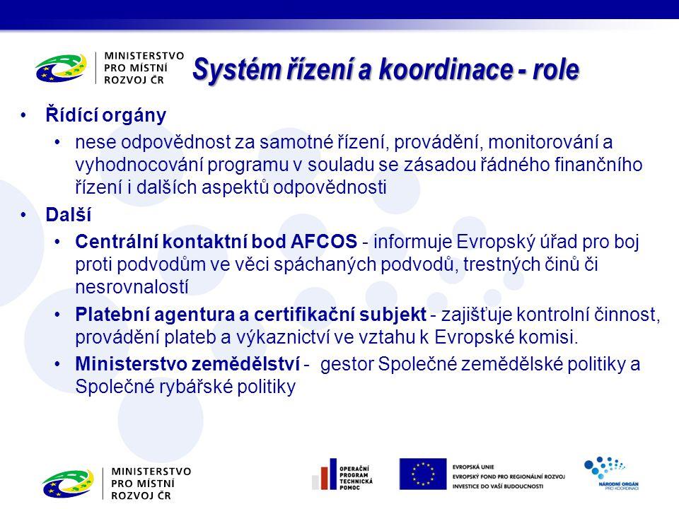 Systém řízení a koordinace - role