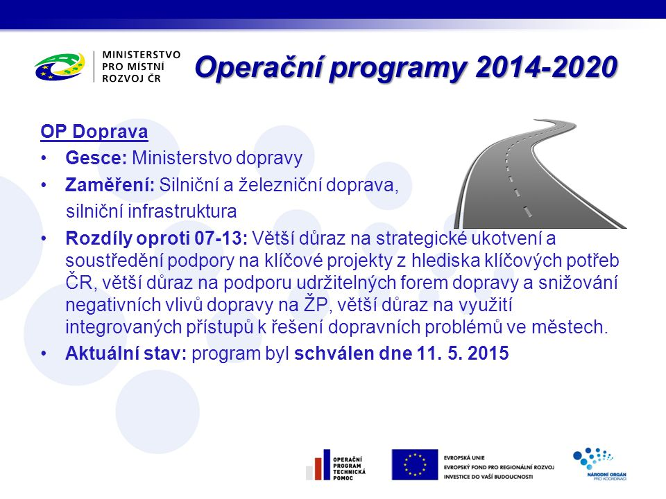 Operační programy 2014-2020 OP Doprava Gesce: Ministerstvo dopravy