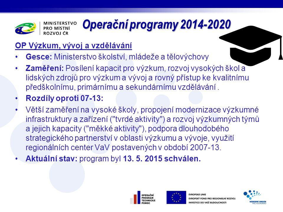 Operační programy 2014-2020 OP Výzkum, vývoj a vzdělávání