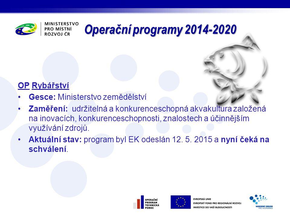 Operační programy 2014-2020 OP Rybářství