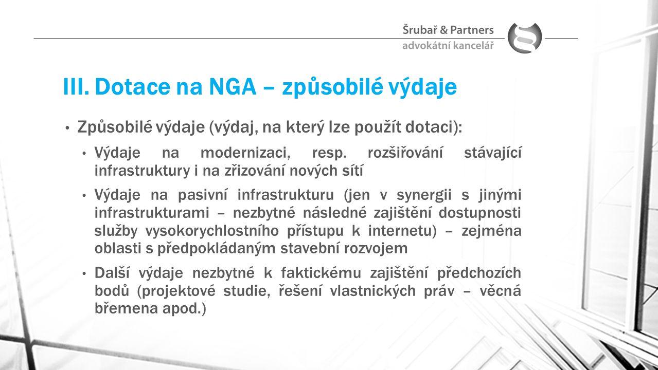 III. Dotace na NGA – způsobilé výdaje