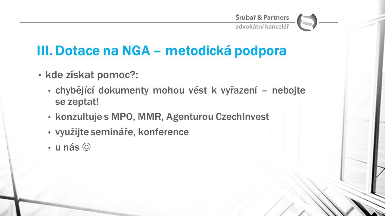 III. Dotace na NGA – metodická podpora
