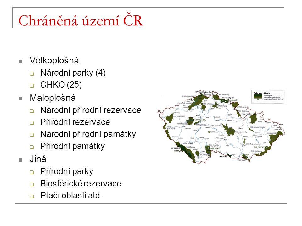 Chráněná území ČR Velkoplošná Maloplošná Jiná Národní parky (4)