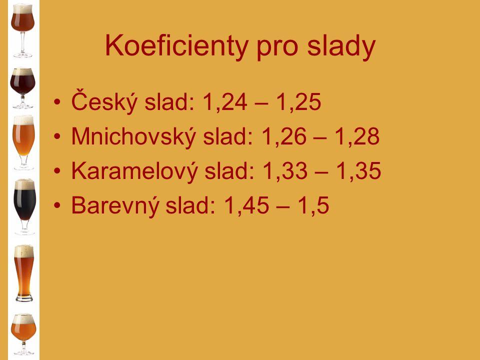 Koeficienty pro slady Český slad: 1,24 – 1,25